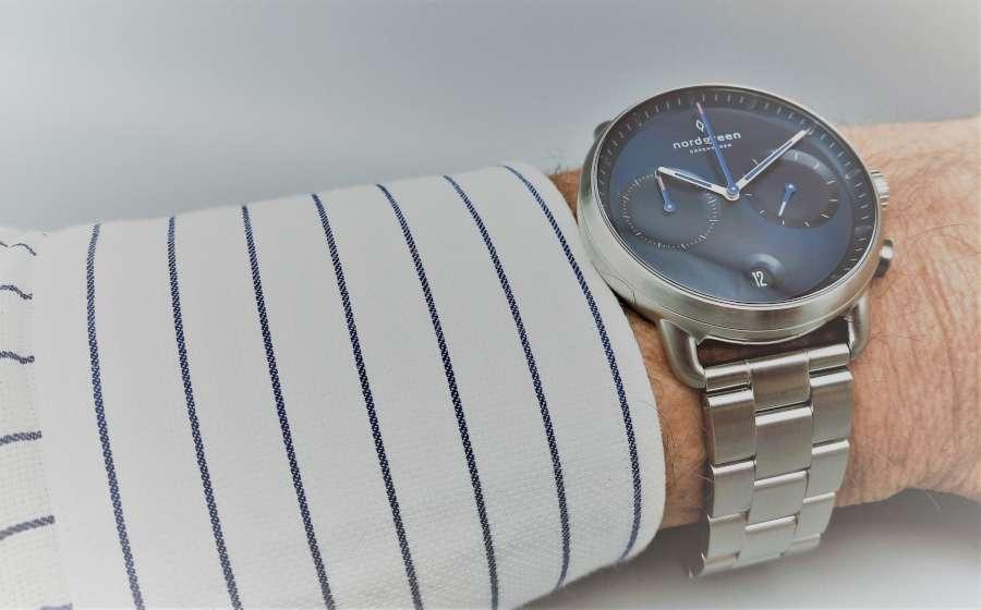 Nordgreen Pioneer chronograph on wrist