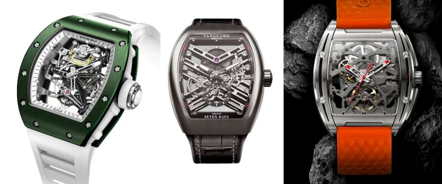 From left, Richard Mille RM-38-01 Tourbillon Bubba Watson, Franck Muller Vanguard 7 Days Skeleton, CIGA Design Z Series