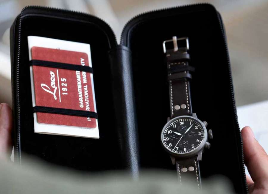 Laco Munchen pilot chronograph presentation case