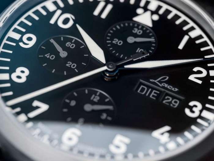 Laco Munchen pilot chronograph dial detail